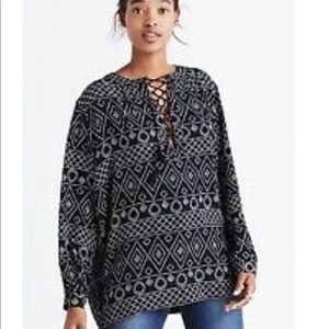 Madewell Caravan Lace Up Poet Blouse